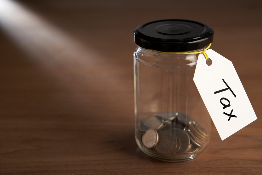 Coins in a Jar Label Tax